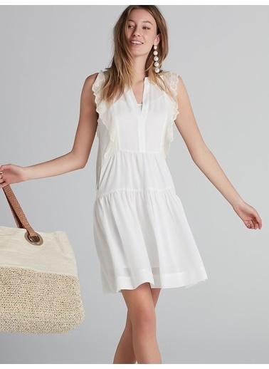 Ipekyol Dantel Mixli Eteği Volanlı Elbise Beyaz